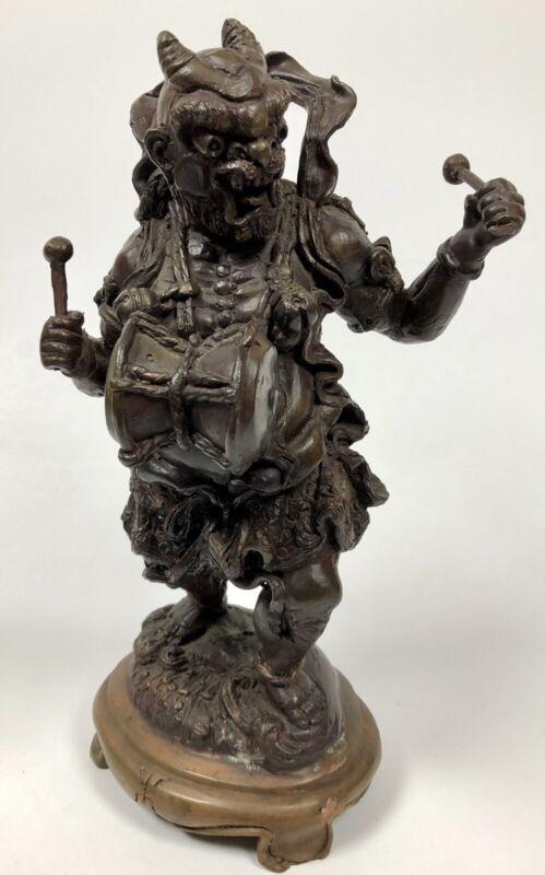 Antique Japanese Bronze Statue Raijin Shinto God Of Thunder