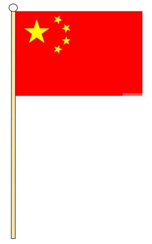 """CHINA 18"""" x 12"""" LARGE HAND WAVING COURTESY FLAG & POLE"""