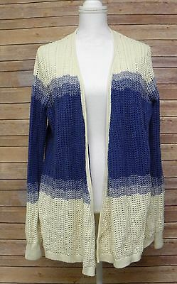 American Living Long Sleeve Open Cardigan Sweater Cream Nordic Blue Cream H5 M12