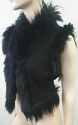 ALEXANDER MCQUEEN Black Faux Fur Trim V Neck Sleeveless Vest Gilet Top 42 UK10