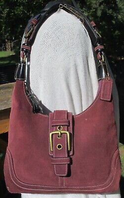 COACH Hamilton Suede Hobo Aubergine Purple Shoulder Bag $268 7471 Purse EUC