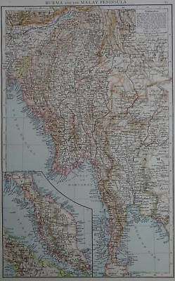Victorian Map 1896 of BURMA & the MALAY PENINSULA The Times Atlas 1st Gen