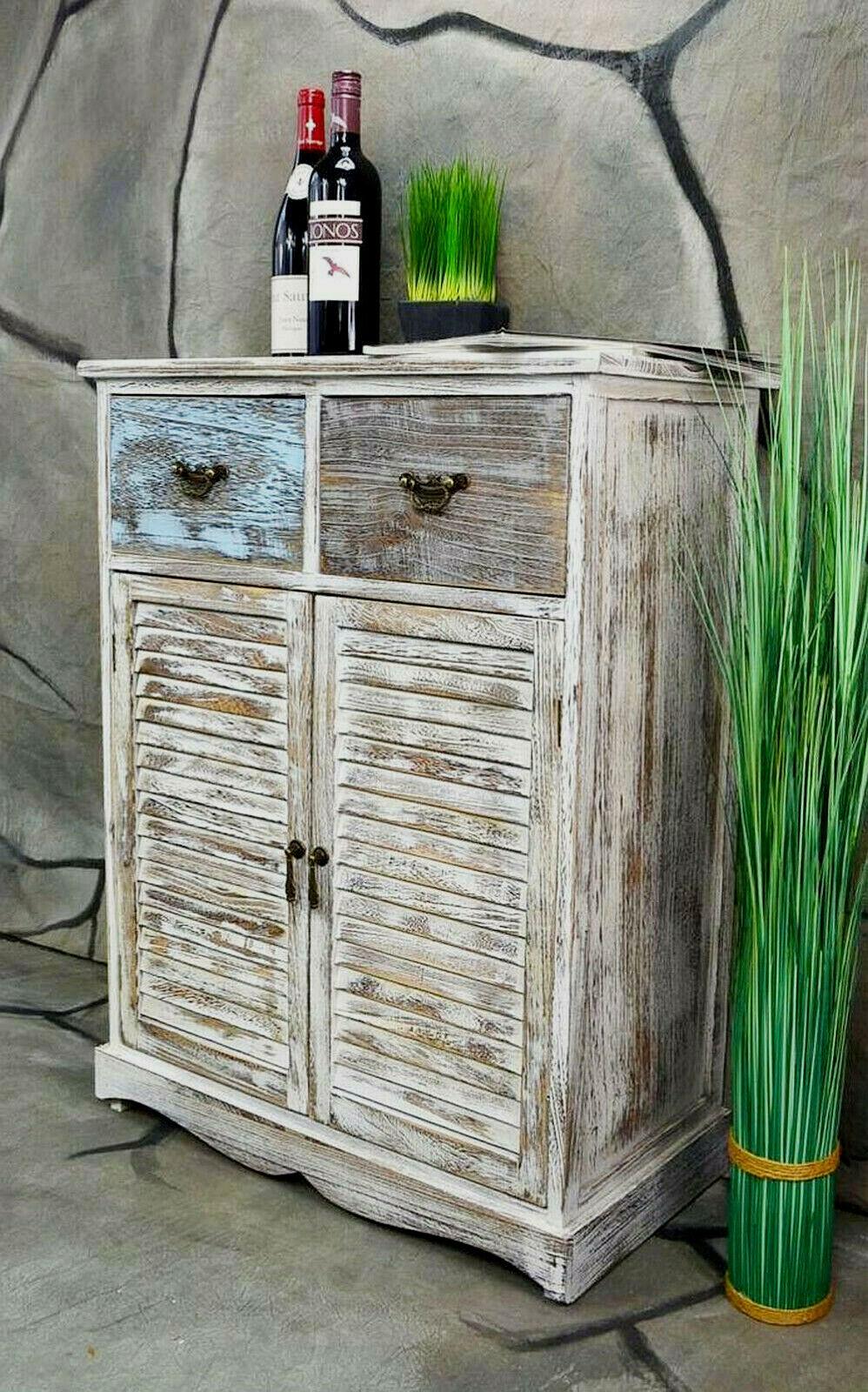 Kommode Schrank mit Schubladen Landhaus Shabby Chic Vintage Weiß LV1007