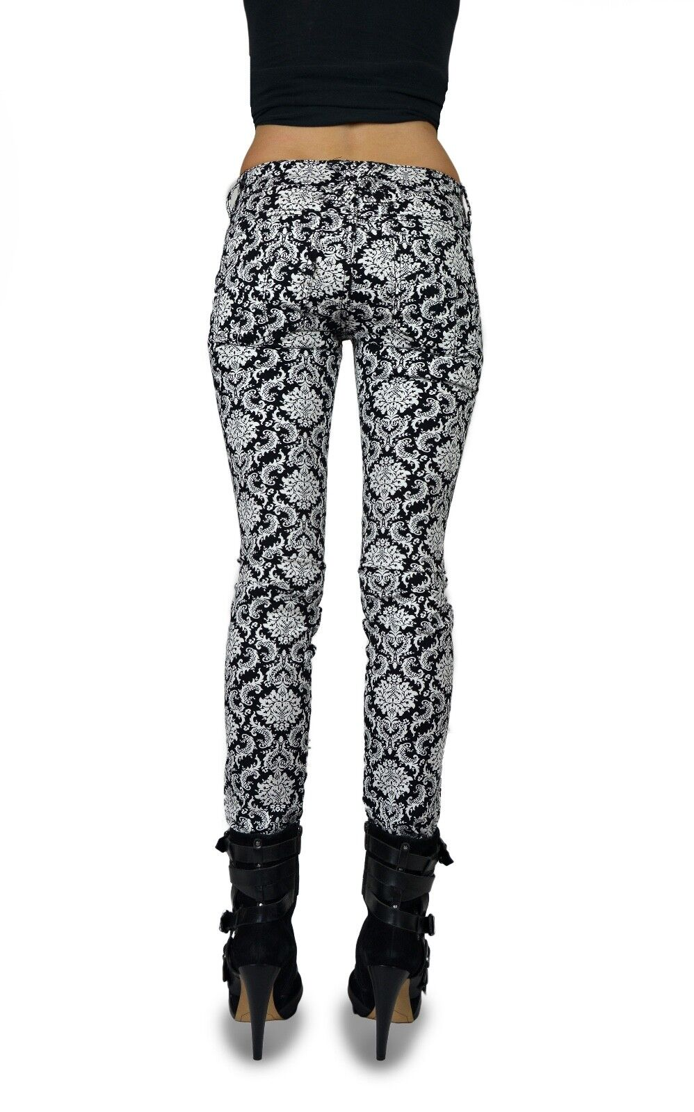 TRIPP EMO GOTH PUNK ROCKER WHITE/BLACK BROCADE JEAN PANTS SKINNY METAL IS6235P Clothing, Shoes & Accessories