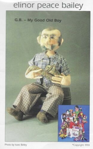 Vintage Soft Sculpture Old Man Doll & Clothes Sewing Pattern UNCUT 18 Inch