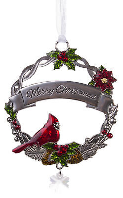 Attractive Zinc Christmas Cardinal Ornaments By Ganz- Merry Christmas ()