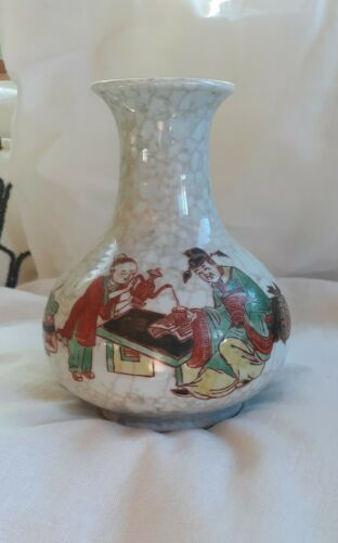 CHINESE FAMILLE ROSE CRACKLEWARE VASE -