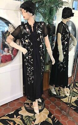 1920s DRESS FLAPPER GATSBY DOWNTON ABBY Tunic Duster Embroiordered 2 Piece Med - Downton Abby Costumes
