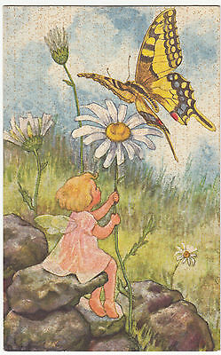 Künstler AK um 1930 Elfe Kind mit Flügel und Schmetterling   ( 2103