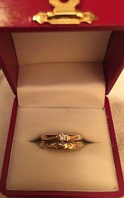 Ladies 10k Yellow Gold Wedding Set-Claddagh Band & Diamond Engagement Size (Ladies Claddagh Diamond Set)