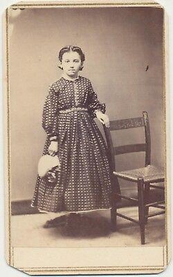 1860s Fashion Dress CDV PHOTO CIVIL WAR TAX STAMP Young Girl Holding Bonnet