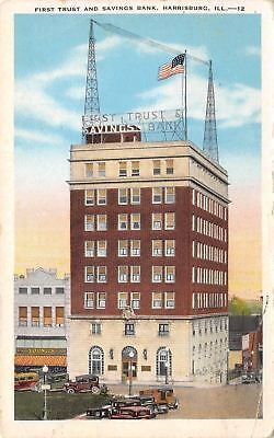 Harrisburg Illinois First Trust Savings Bank Youngs Dime Store 1930S Postcard