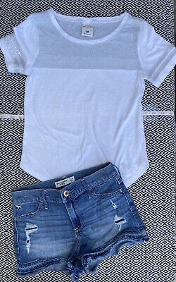 Abercrombie Kids Brand Girls Size M White Shirt Size 11/12 Denim Shorts Size 10