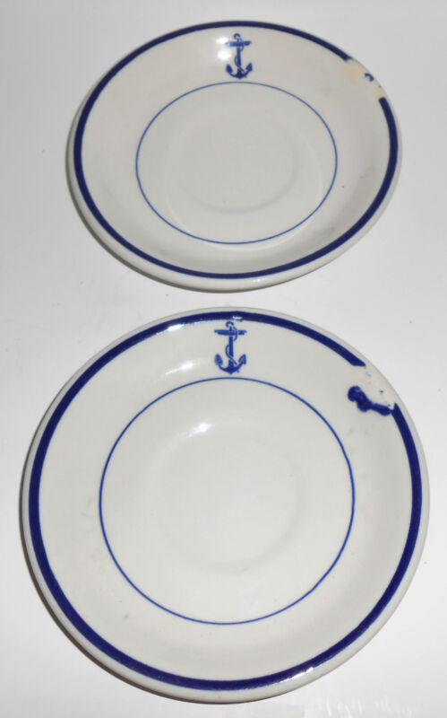 Shenango China United States Navy Pair Anchor Saucers Mint
