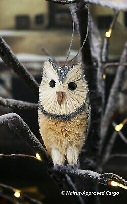 CRATE & BARREL BURI SILVER OWL ORNAMENT -NWT- MAKE A WISE CHOICE FOR YOUR TREE! ()