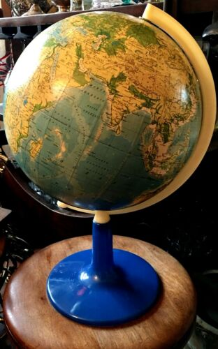 VINTAGE MID CENTURY  WORLD GLOBE MAP EARTH in POLISH LANGUAGE