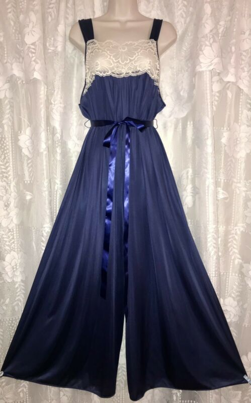 VTG RARE M L NAVY NYLON PALAZZO NYLON JUMPSUIT Nightgown Jumper w LACE