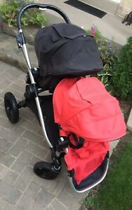 Black/red double city select stroller