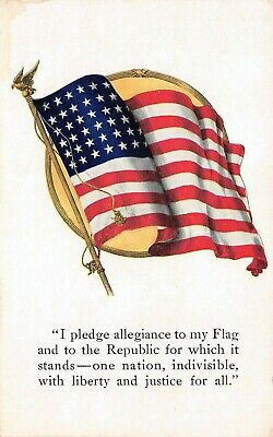 "C6664 48-Star American Flag & ""Pledge of Allegiance"" - Vintage Postcard Levinson"