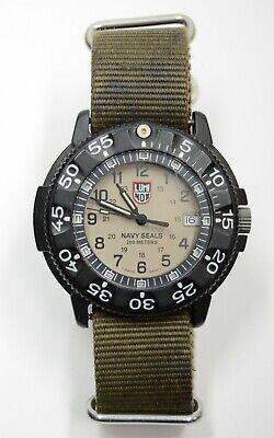 Older Luminox 3000 Series Navy Seal WR 200M Wrist Watch 3-H MBM Khaki Tan Dial