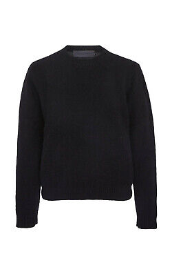 THE ELDER STATESMAN Fitted Crew Neck Cropped Cashmere Sweater Black $775 sz XS