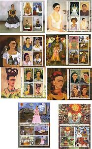 FRIDA KAHLO PAINTING 8 SOUVENIR SHEET MNH IMPERFORATED