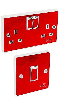 Chrome Light Switch (Red Chrome Light Switch & Double Socket Sticker Vinyl / Skin cover sosw49)