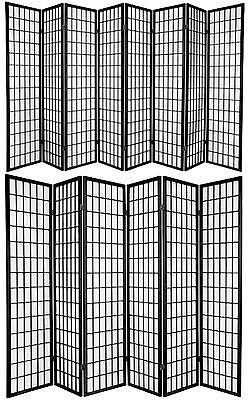 3,4,5,6,8 Panel Japanese-Oriental Style Shoji Screen Room Divider Black Color 3 Panel Black Room Divider