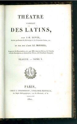 LEVEE J.-B. LE MONNIER THEATRE COMPLET DES LATINS PLAUTE TOME V CHASSERIAU 1820