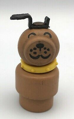 Vintage Fisher Price Little People TAN LUCKY DOG Brown Yellow Collar Rare!