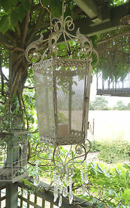 70cm Tall French Provincial Style Antique White Metal Hanging Lantern for Candle