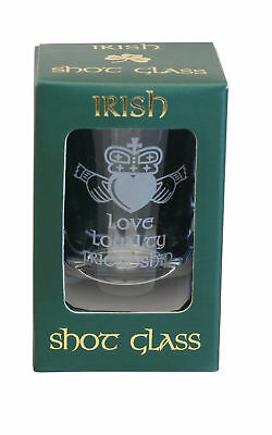 "Crystal shot glass Claddagh Design, Frosted etching, Sizes: 2.6"" L and 1.6"" W"