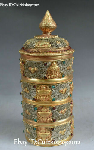"11"" Silver Filigree 24k Gold Gem 8 Auspicious Symbol Jewelry Box Treasure Case"