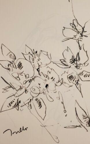 JOSE TRUJILLO - Original Charcoal Paper Sketch Drawing 11X17 FLORAL FLOWERS