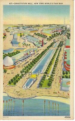 Vintage Linen POSTCARD Constitution Mall NEW YORK WORLD'S FAIR 1939 mailed (Newyork Mall)
