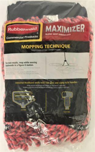 Rubbermaid Maximizer Large Blend Wet Mop, Universal Headband, Red, 1924806