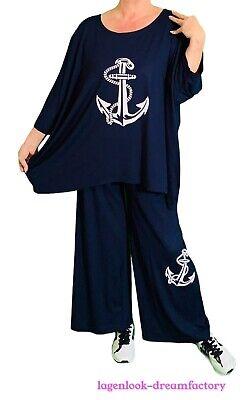 Myo - Lagenlook Jersey con Impresión Marlenehose-Culotte Marina 42 44 46 48...