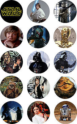 Star Wars (1) -  Cake Toppers Pre Cut Rice Paper or Icing 15 x 2 Inch Cupcakes (Star Wars Cupcakes)