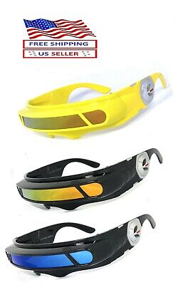 ALIEN SPACE COSTUME Party CYCLOPS Futuristic Robot SHIELD WRAP SUNGLASSES (Cyclops Shades)