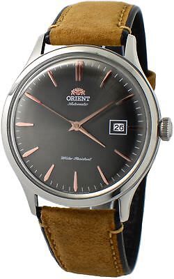 Orient Bambino Version 4 FAC08003A0 Grey Dial Tan Leather Band Men's Watch
