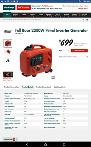 Full Boar 2200W Petrol Inverter Generator Paringa Renmark Paringa Preview