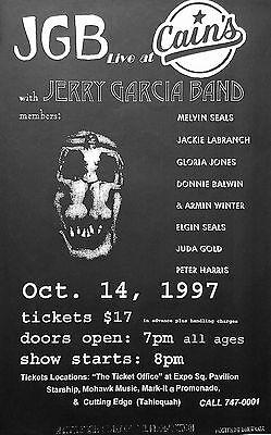 Jerry Garcia Band 1997 Original Cain's Ballroom Concert Promo Poster Tulsa, Ok