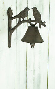 Rustic Vintage Birds Design Cast Iron Decorative Door Bell Garden Ornament