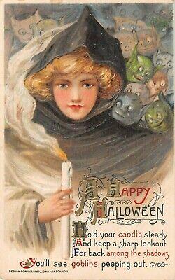 1911 Schmucker Winsch Happy Halloween Goblins & Girl with Candlelight post card](Happy Halloween Postcards)