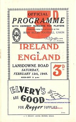 Ireland v England 12 Feb 1949 - Irish Triple Crown RUGBY PROGRAMME REPRODUCTION