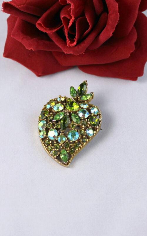 Vintage Dazzling Green Aroura Borealis  Rhinestone   Pin Brooch CAT RESCUE