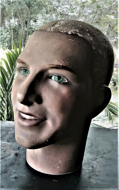 Vintage Male Mannequin Head Display Art Deco Sculpture Original Glass Eyes