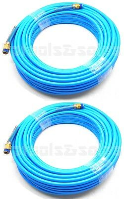"(Lot of 2) 100ft x 1/4"" Air Compressor PU Hose Roofing Framing Carpentry HD Hose"