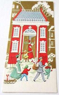 - Used Vtg Christmas Card Greeting Friends by Front Door w Delivery Man w Presents