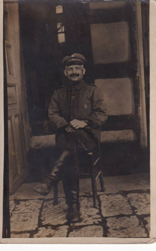 Original WWI RPPC Real Photo Postcard GERMAN SOLDIER with WOUND BADGE France 86